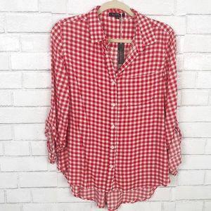 Velvet Heart Red & White Checker Shirt. Size M